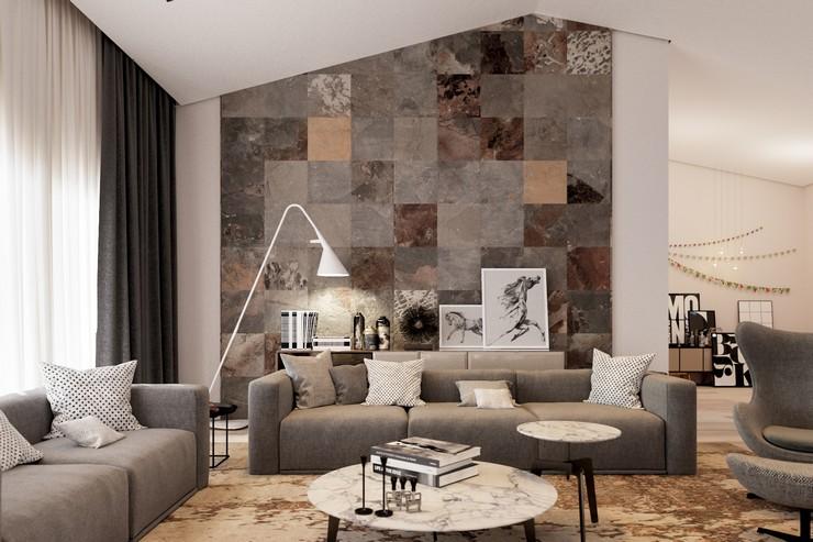 Применение отделочных материалов над диваном