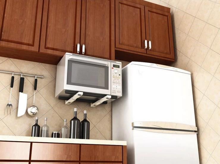 Варианты размещения СВЧ на стене маленькой кухни